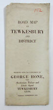 Approx 1950 old vintage Road Map of Tewksbury and District