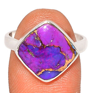 Copper Purple Turquoise - Arizona 925 Sterling Silver Ring Jewelry s.8.5 BR85255