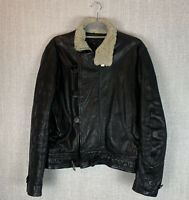 YMC You Must Create aviator leather jacket sherpa collar coat large good cond