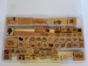 Small Rubber Stamps Full Craft Box 63 Piece Lot