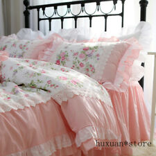 Romantic Embroidery Bedding Set Ruffle Lace Bed Set King Cotton Duvet Cover Set