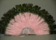 "MARABOU FEATHER FAN - LIGHT PINK w/ Peaock 24"" x 14"" Burlesque/Costume/Halloween"