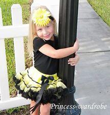 Yellow Black Trim FULL Pettiskirt Petti Skirt Dance Tutu Dress 4 Child Girl 1-8Y