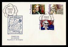 1996 URUGUAY FDC SPACE FAMOUS PEOPLE PORTRAIT COMBO