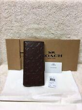 NWT Coach Men's Signature Crossgrain Leather Breast Pocket Long Wallet F75365