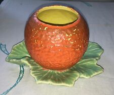 Vintage 1953 McCoy Pottery Cold Painted ORANGE FRUIT PLANTER Leaf Base Saucer