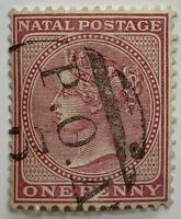 "1800's NATAL STAMP WITH ""POA 3"" SON CANCEL, QUEEN VICTORIA"
