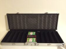 Poker Set Metal Hard Heavy Duty Case For Chips Free Cards & Dice