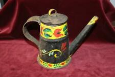 Lovely Antique Toleware Tin Decorated Lamp Filler~ Coffee Pot ~Watering Can~