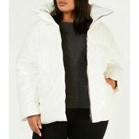 CALVIN KLEIN Performance Shiny Funnel Neck White Puffer Jacket Size 18-20 UK