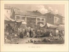CANTON, CHINA, FISH MARKET, from Perry Expedition, antique lithograph 1857