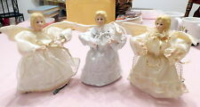 """My 3 Vintage 7.5"""" Lighted Angels Bling Satiny Gold White Silver Decor Tree"""