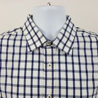 Charles Tyrwhitt Peached Poplin Blue Check L/S Casual Button Shirt Sz Large L