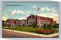Easton PA, High School Building Street View Grounds, Linen Pennsylvania Postcard