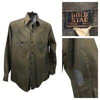 1930s Work Wear Shirt / 30s Distressed Gold Star Cotton Button Up Shirt / Small