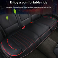 Universal Genuine Leather Car Auto Rear Seat Cover Cushion Pad Black Breathable