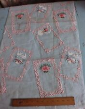 Vintage Swiss Hand Loomed Cotton Voile Embroidery Sample Fabric c1940-50s~Birds