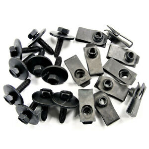 Qty 10 Body Bolts & U-nut Clips- M6-1.0 x 25mm Long- 10mm Hex For Ford 147163194