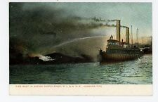 Fire Boat on North River DL&WRR Firefighting HOBOKEN Antique NYC <1908