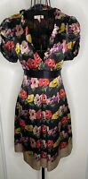 TED BAKER MORAR SILK FLORAL 50'S VINTAGE TEA DRESS BLACK FLORAL SIZE 2 UK 10