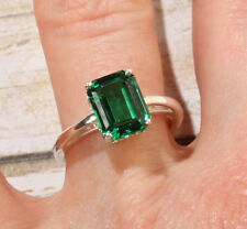 14K White Gold 9x7MM Emerald Shape Chatham Emerald Engagement Solitaire Ring
