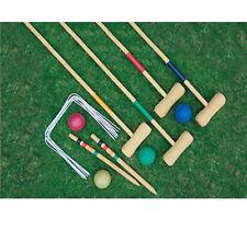 NUOVO Giocatore Outdoor 4 Set da croquet Wooden Mallet PALLINE BAMBINI GIOCO GIARDINO Famiglia Gioco