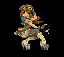 Pinup Girl Steampunk Woman Laptop or Automotive Sticker Decal Waterproof Pin Up
