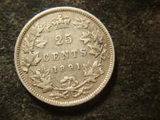 1891 VF XF Sharp  Canada Twenty Five Cents DEL