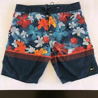 ONEILL Board Shorts Swim Surf Trunks Floral Stripes Mens Size 38 Blue Red Orange