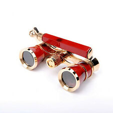 3x25 Red Brass Opera Theater Glasses  Binoculars Coated Lens With Handle