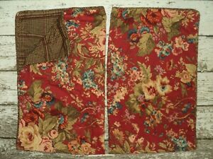 Ralph Lauren CHAPS Set 2 Summerton Houndstooth Standard Pillow Shams Red Floral