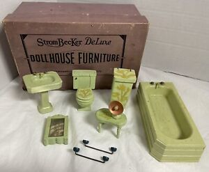 Strombecker Dollhouse Furniture 1940s Handmade Bathroom Set 9 pc Original Box