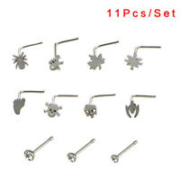 11Pcs/Set Crystal Thin Unisex Surgical Steel Nose Screw Ring Body Piercing Stud