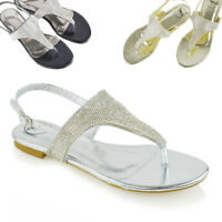 Womens Flat Sandals Slingback Toe Post Ladies Summer Holiday Diamante Shoes