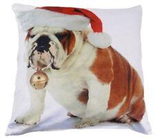 Cute Christmas Bulldog Soft Thick Velvet Cushion Cover White Red Pillow Case