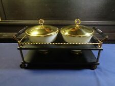 Fire King Chafing Dish White Bowls & Brass