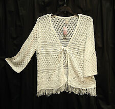WHITE OPEN WEAVE FRINGE TIE FRONT CARDIGAN JACKET SWEATER WRAP TOP~26~28~3X~4X~