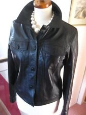 Ladies M&S black real leather short fitted JACKET COAT SHIRT trucker UK8 western