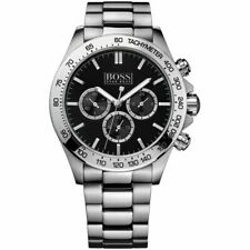GENUINE Hugo Boss HB 1512965 Men's Ikon Black Dial Silver Chronograph Watch~BNIB