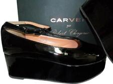CARVEN Black by Robert Clergerie Patent Leather Mary Jane Wedge Shoe 38 Platform