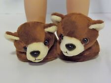 """Teddy Bear Slippers Fits Wellie Wishers 14.5"""" American Girl Clothes Shoes"""