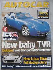 AUTOCAR  8/11/2000 featuring TVR Tamora, Vauxhall VX220, Subaru Impreza STi