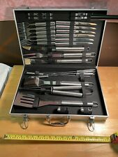 Stainless Steel Complete Barbecue Set Silver with Carrying Case