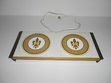 "Vintage Serving Warmer Tray, Electric, White, Gold & Brown, 17"" Length"