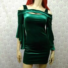 6d8b7f4a8ba Venus Green Stretch Velvet Mini Dress Womens XS Witchy Gypsy Boho St  Patricks