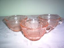Vintage Depression Federal Normandie Pink 6 oz. Cups - SET of 3 - MINT