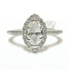 18k WHITE GOLD HALO CERTIFIED 0.80ct  MARQUISE CUT & RB DIAMOND ENGAGEMENT RING