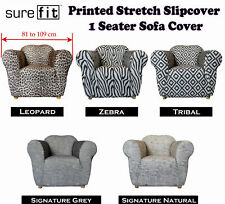 Printed Stretch Slipcover 1 Seater Couch Cover Zebra by Surefit