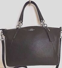 NWT Coach 36675 small Kelsey Pebble Leather Satchel Handbag Black with silver