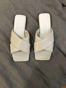 Light Grey Zara Leather Slide Sandals 37